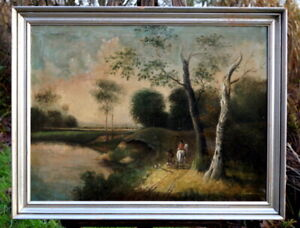 Antique-Oil-Painting-Hunter-with-dogs-England-UM-1880-SIGNED-ARTIST-WORK