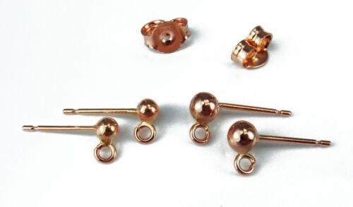 Descuento Espalda De 9 quilates Rojo Oro Rosa Stud /& bucle cuentagotas earposts 3mm 4mm