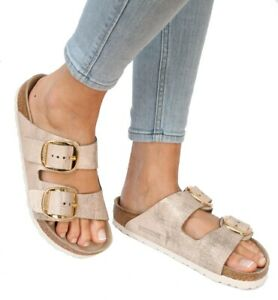 Details about Birkenstock Sandals Big Buckle Arizona Washed metallic rose gold Suede regular
