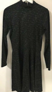 Abercrombie & Fitch A&F Black Ivory turtleneck long sleeve Dress women's size L