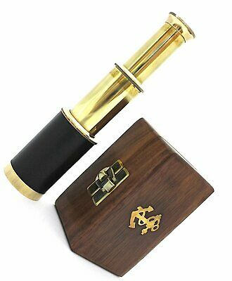 "Pocket Tapered Telescope 6/"" with Hard leather box Brass Pocket Telescope"
