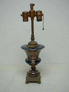 ANTIQUE FRENCH PORCELAIN COBALT BLUE GOLD ENCRUSTED TABLE LAMP WITH MAIDENS