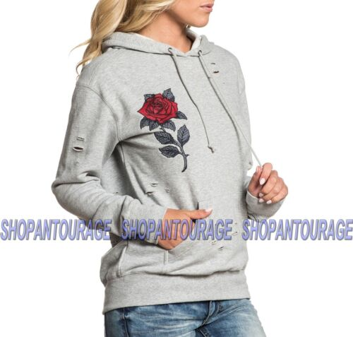 Affliction Red Roses 111OW085 New Long Sleeve Pullover Graphic Hood for Women
