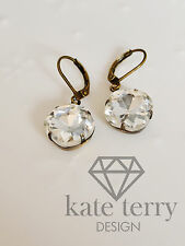 Cushion Cut Square Glass Stone leverback Earring-crystal and antique brass