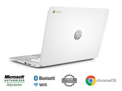 HP Chromebook 14 14in  (16GB, Intel Celeron, 1 4GHz, 4GB) Chromebook -  White - F7W49UA