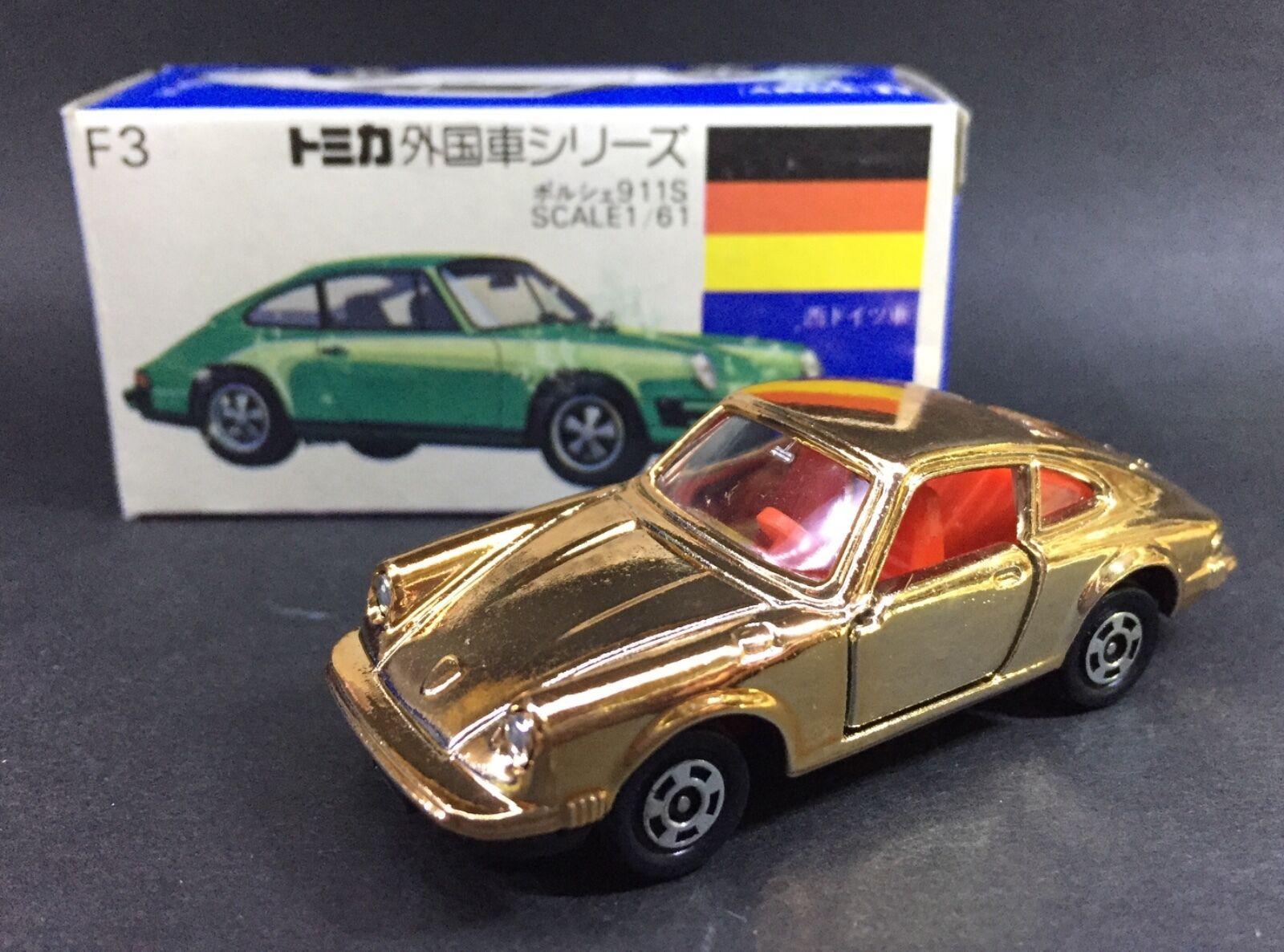 Hecho En Japón Tomy Tomica F3 Alemania Porsche Oro 911S 1/61 automóvil de fundición Raro