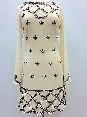 New Beige 1920's Gatsby fully embellished shift dress sizes 8 10 12 14 16 18 20
