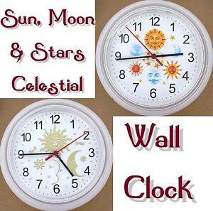 Celestial Sun Moon Stars Wall Clock Sky Heavens Time Lunar Solar Rays New Ebay