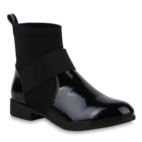 Damen Stiefeletten Schlupfstiefel Sock Boots Lack Booties 825251 Schuhe