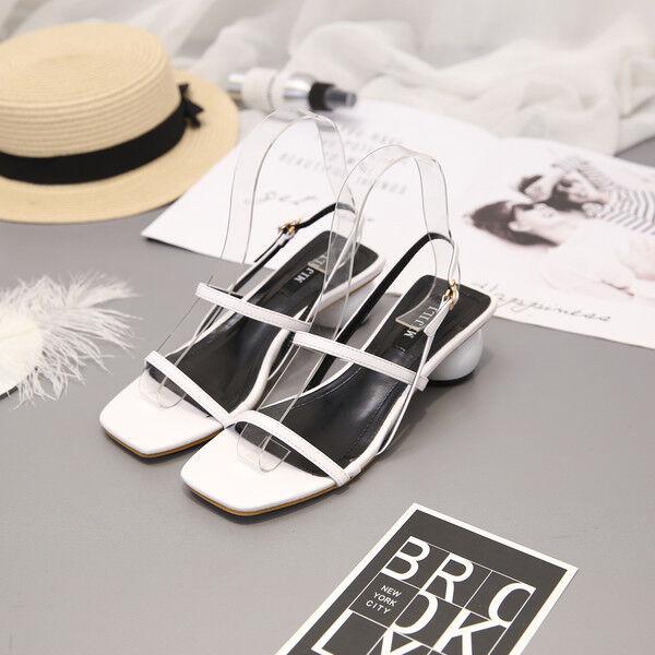 Sandale quadrato eleganti sabot 6 cm bianco ciabatte simil pelle eleganti CW411