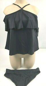 Just-Fab-women-039-s-black-swimsuit-size-S-black-off-shoulder-top-bikini-bottom-NWT