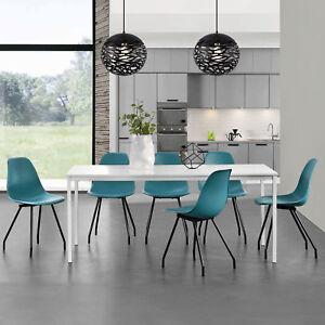 en.casa] MESA de Comedor Con 6 sillas blanco/turquesa 160x80cm ...