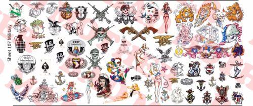 1//6 Scale Custom Tattoos MILITAIRE Pack-Waterslide Decals