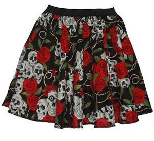 Childs-15-034-Day-of-the-Dead-Halloween-Skulls-amp-Roses-Fancy-Dress-Skater-Skirt
