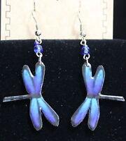 Pichincha Ceramic Purple Dragonfly Earrings Hand Painted 2 Dangle Drop (6)