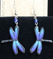 Pichincha Ceramic Purple Dragonfly Earrings Hand Painted 2 Dangle Drop (6)