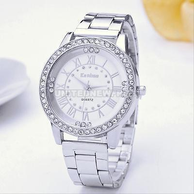 HOT Women's Men's Crystal Rhinestone Stainless Steel Analog Quartz Wrist Watch