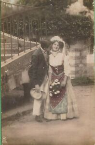 Vintage-Antique-Love-Couple-Romance-RPPC-Postcard-AL-Cheek-Kiss-Printed-Germany