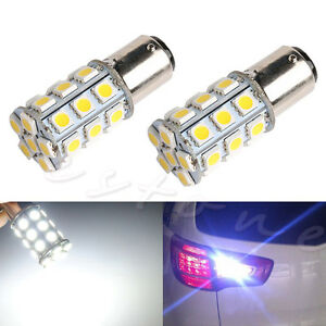 2x 1157 blanc bay15d p21 5w 27smd 5050 voiture 12v led queue lampe freinage feu ebay. Black Bedroom Furniture Sets. Home Design Ideas