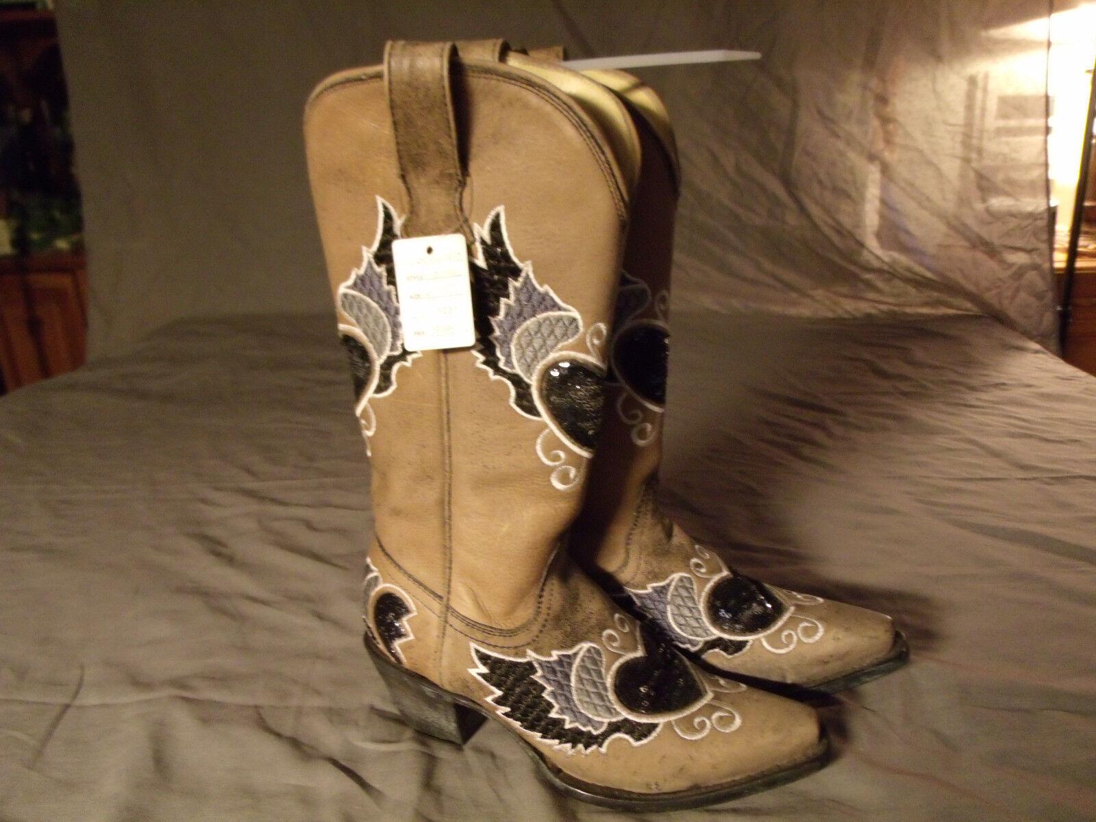 botas de vaquero occidental Corral Damas Damas Damas Negro gris corazón ala Lentejuelas R1015 Talla 6.5M  se descuenta