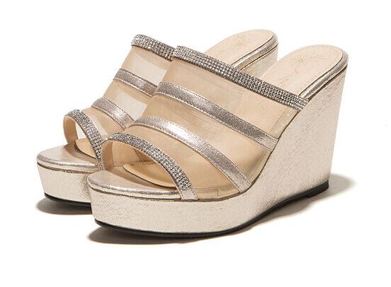 Scarpe ciabatte sabot oro sandali tacco zeppa 10 cm trasparente oro sabot elegante 9300 516da7