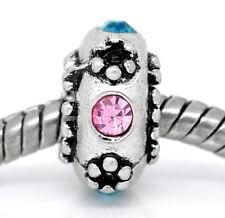 Rhinestone Flower Pink Blue Green Spacer Bead for European Style Charm Bracelets