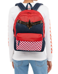 Vans X Marvel Captain Marvel Realm Backpack Red White Checkerboard ... acc61aca6b3ea