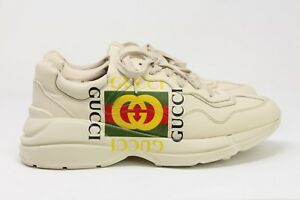 fc2a13273d0 Image is loading Gucci-039-Rhyton-039-Logo-Ivory-Sneakers-White-