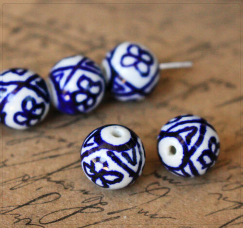 4 Porcelaine Céramique Perles Beads Bijoux À faire soi-même Bricolage Balle 11 mm blanc//bleu motif