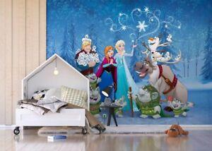 Disney Papier Peint Papier Peint De Chambres D'enfants Frozen Elsa Olaf Bleu Premium-afficher Le Titre D'origine Vente D'éTé SpéCiale