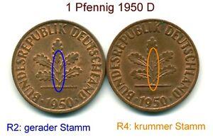 BRD-1-Pfennig-1950-D-2-Varianten-selten