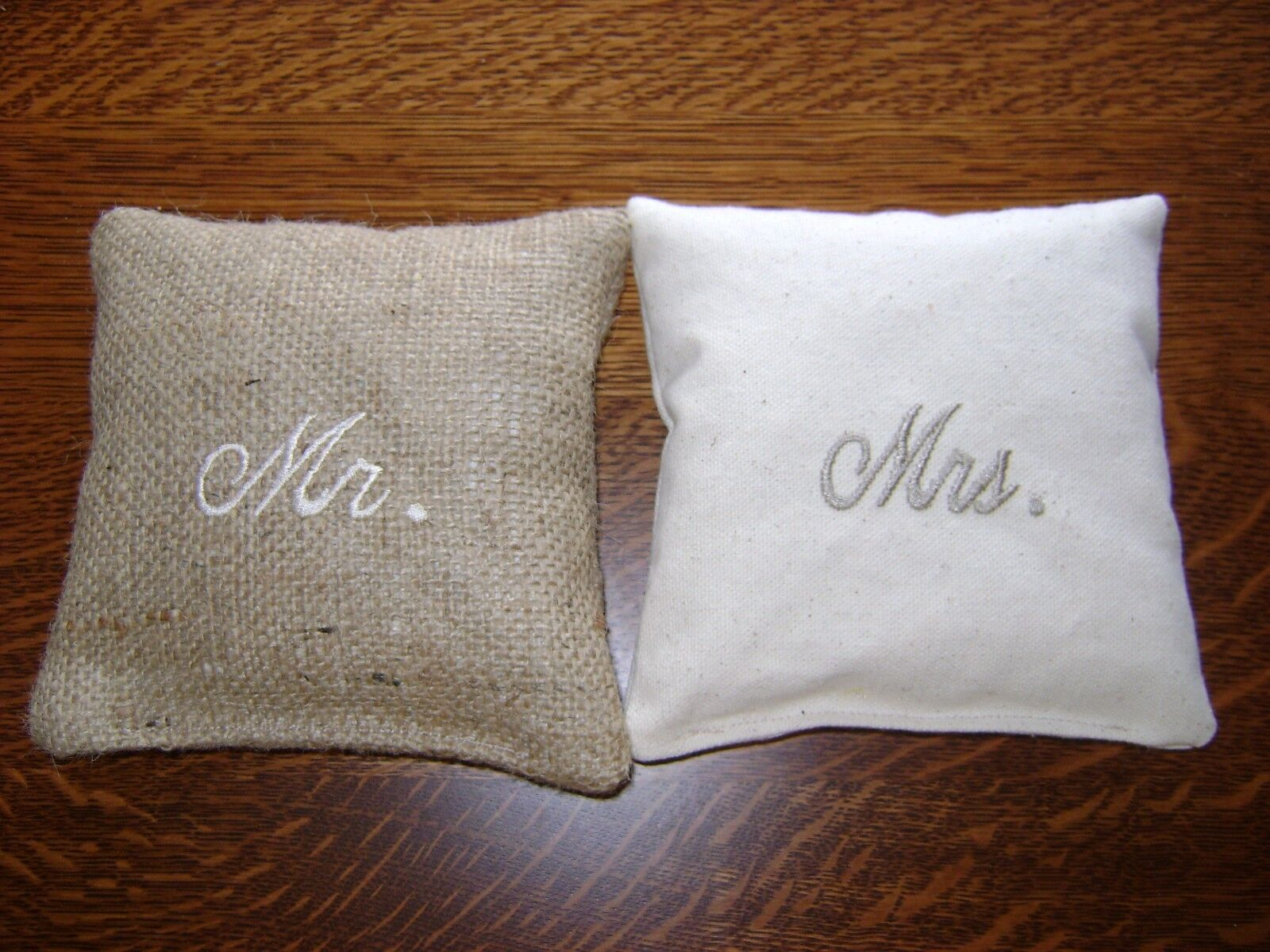 BURLAP & NATURAL EMBROIDERED CORNHOLE BEAN BAGS TOSS GAME RUSTIC VINTAGE WEDDING