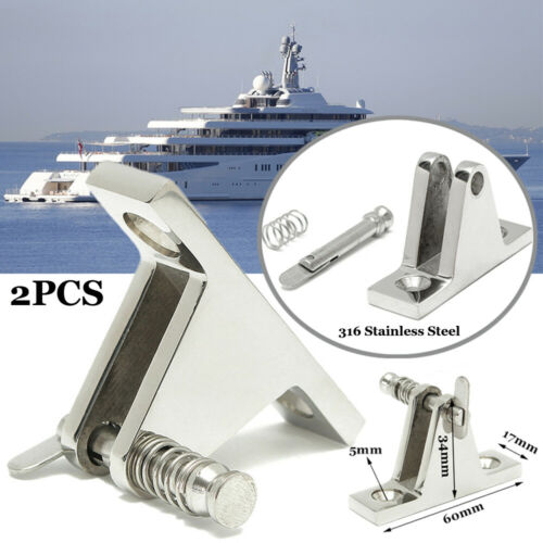 2x 90 Grad Deck Scharnier Boot Bimini Top mit Schnellverschluss Pinnen Edelstahl