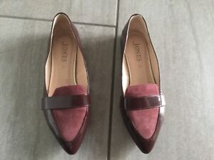 Jones-Ladies-Burgundy-Patent-Suede-Flat-Shoes-Size-37-4-Great-Condition