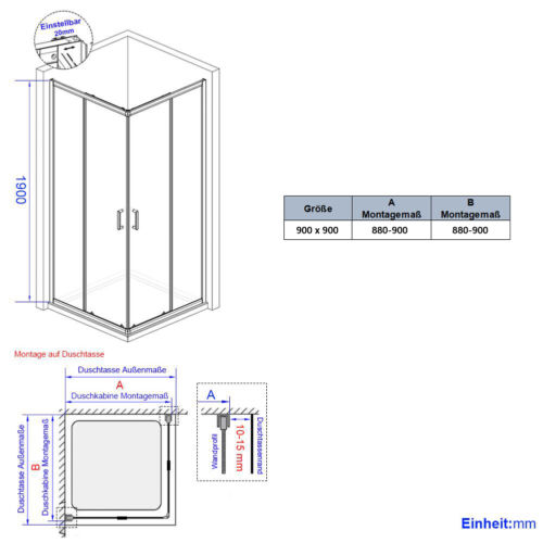 Duschabtrennung Glas Schwarz Duschkabine Duschtür Schiebetür 80x80 90x90 100x100