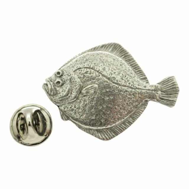 Silver Toned Halibut Flat Fish Tie Clip