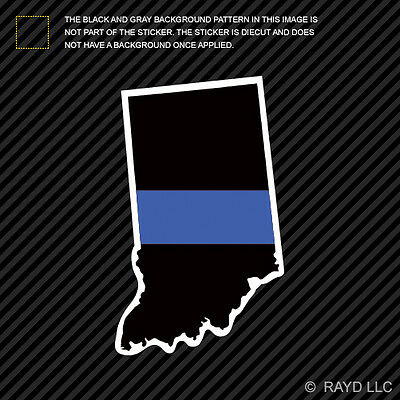 Indiana State Shaped The Thin Blue Line Sticker Decal Vinyl police IN