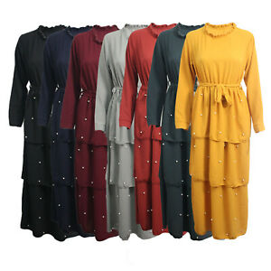 Womens-Ladies-Jilbab-Abaya-Pearl-Belted-Cocktail-Maxi-Dress-Frill-Front-Dubai