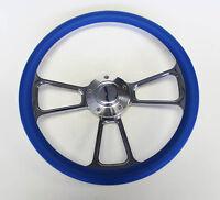 1970's Dodge Dart Charger Demon Blue And Billet Steering Wheel 14 Very Nice