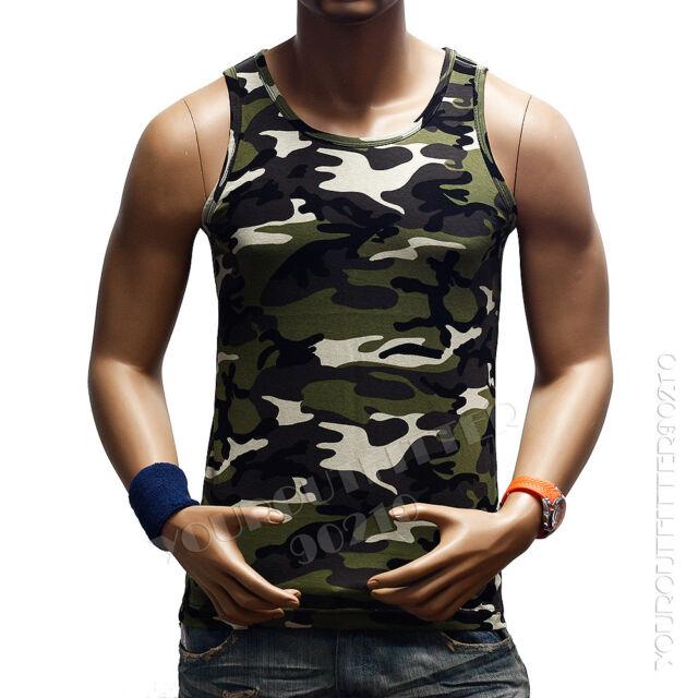 Men's Plain T-Shirts Tank Top Muscle Camo Sleeveless Tee  A-Shirt  Bodybuilding