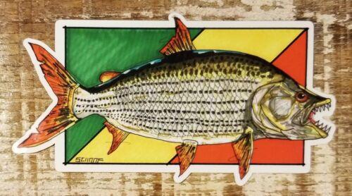 TIGERFISH Sticker Decal Fly Fishing Kenya Africa Zimbabwe Tazmania Tiger Fish