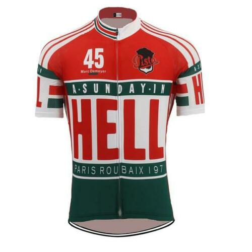 A SUNDAY IN HELL Paris to Roubaix Classic Retro Cycling Jersey