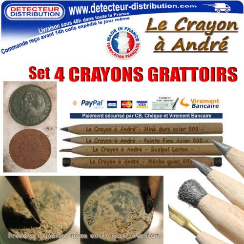 Made in France Set de 4 crayons grattoir nettoyage monnaies Crayon à André