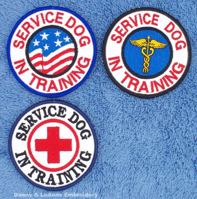 1 SERVICE DOG IN TRAINING PATCH 3 INCH round  Danny & LuAnns Embroidery