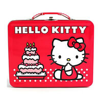 Sanrio Hello Kitty Tin Metal Lunch Box Carry All Birthday Gift Bag Favor Red
