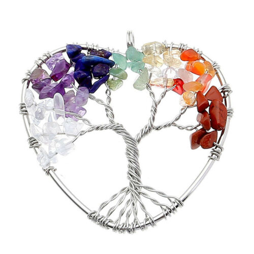 Chakra Gemstone Bead Tree of Life Love Heart Wire Wrap Pendant For Necklace Gift