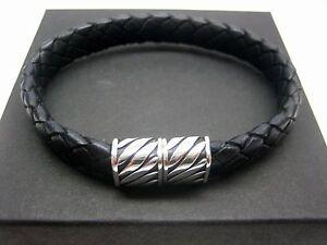 sterling silver 925 magnatic clasps w//braided Italian leather bracelet men//women
