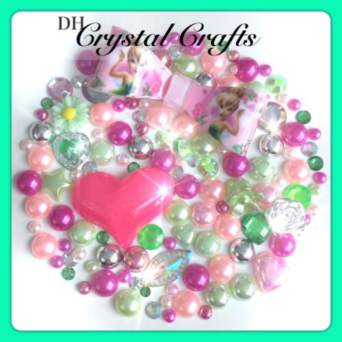 Disney Tinkerbell Theme Resin Bow Gems /& pearls flatbacks for decoden crafts #2