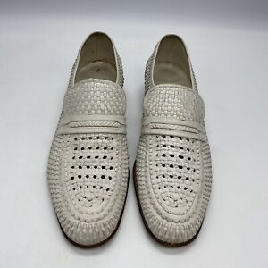 Bally Shoes Size 9M White Woven Loafer