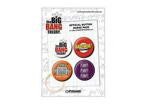 Blister-de-4-Badges-Big-Bang-theory-Officiels-Bazinga-Sheldon-TBBT-badge-pack